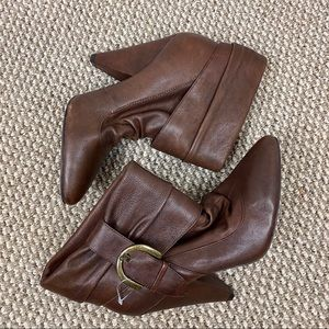 JESSICA SIMPSON BROWN SLOUCH HAZELL ANKLE BOOTIE